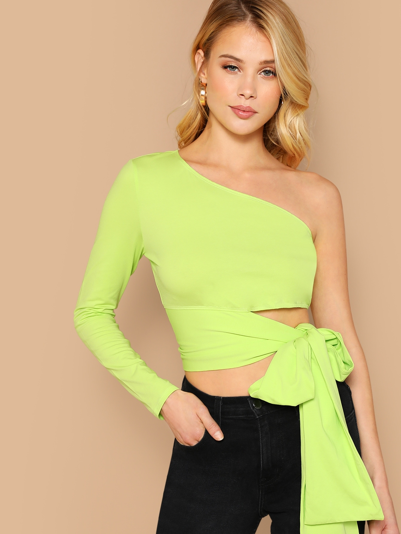 9a86b53cb6c Neon Lime One Shoulder Self Tie Crop Top | MakeMeChic.COM