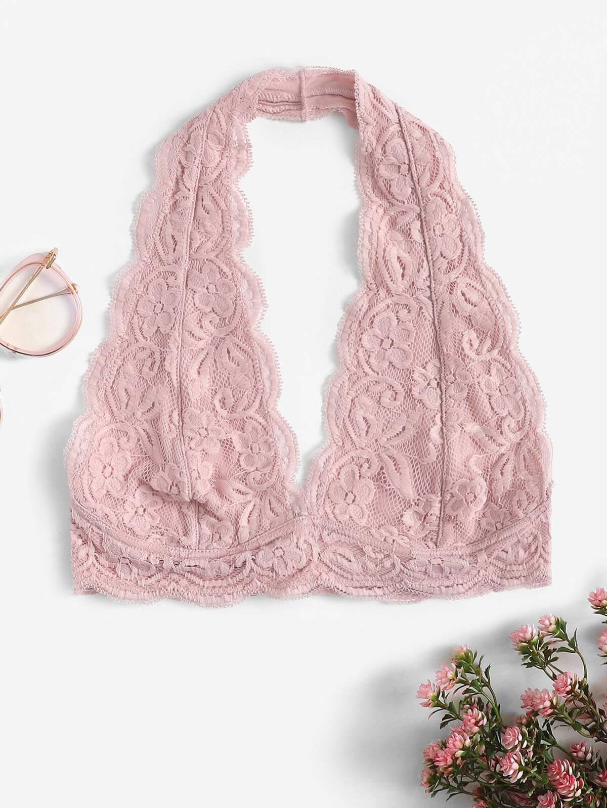 扇形 裝飾 花樣蕾絲 繞頸 無襯胸罩