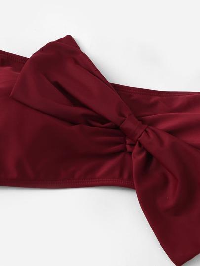 76b2aea422 Plus Bow Decorated Bandeau With Floral High Waist Bikini, null. sku: 83073