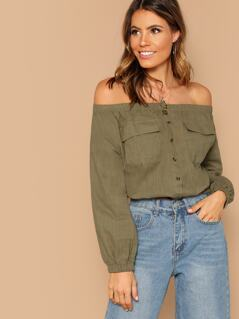 Off Shoulder Button Detail Peasant Crop Top