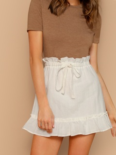 Elastic Waist Tie Ruffle Trim Mini Skirt