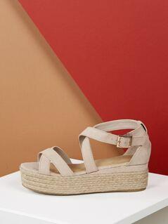 Wrap Buckle Strap Jute Wrapped Flatform Sandals