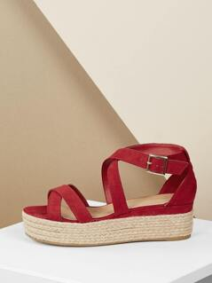 Criss Cross Strap Jute Wrapped Flatform Sandals