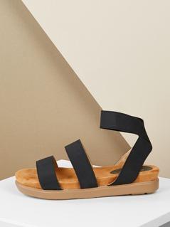 Double Elastic Straps Low Flatform Sandals