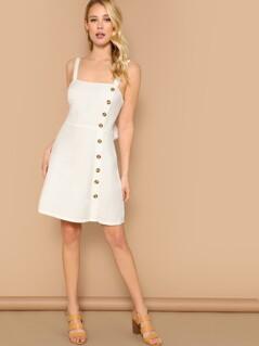 Button Detail Tie Accent Sleeveless Dress