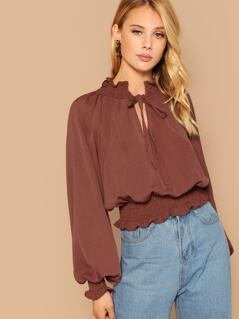 Ruffle Edge Puff Sleeve Stretch Blouse