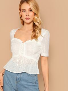 Lace Up Front Peplum Hem Eyelet Top