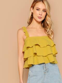 Straight Neck Tiered Layered Ruffle Strap Tank Top