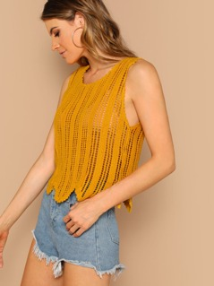Scalloped Edge Knitted Tank Top