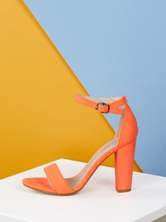 Single Band Buckle Strap Chunky Heeled Sandals