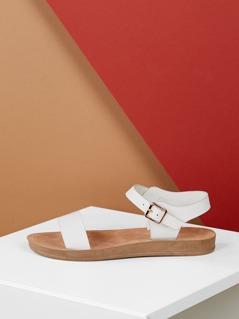 Solid Band Ankle Strap Flatform Sandals