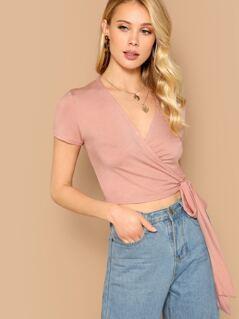 Short Sleeve Jersey Wrap Crop Top