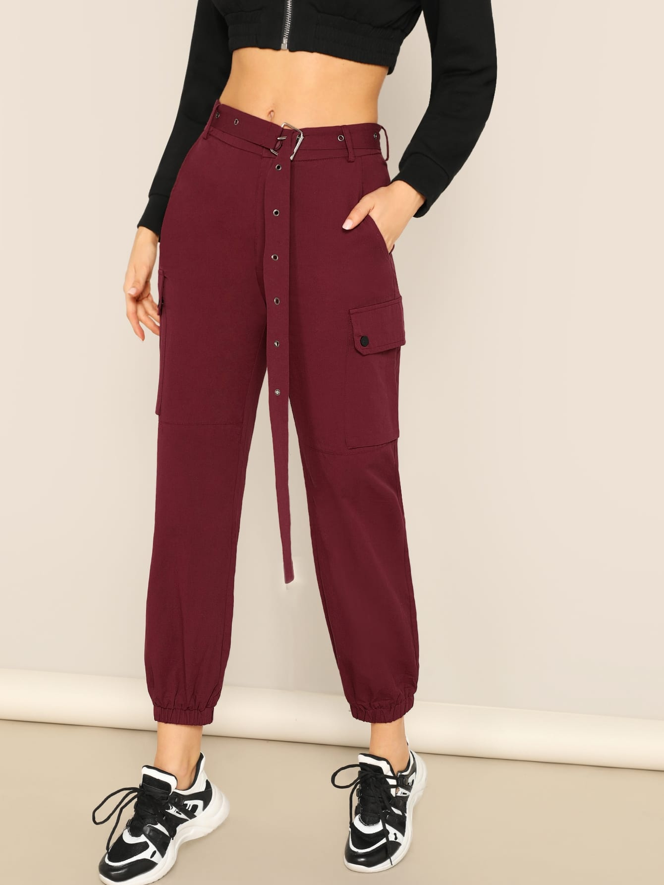 Купить Укороченные брюки с регулируемым поясом и карманом, Christen Harper, SheIn