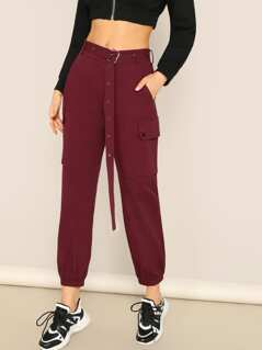Flap Pocket Adjustable Belted Crop Pants