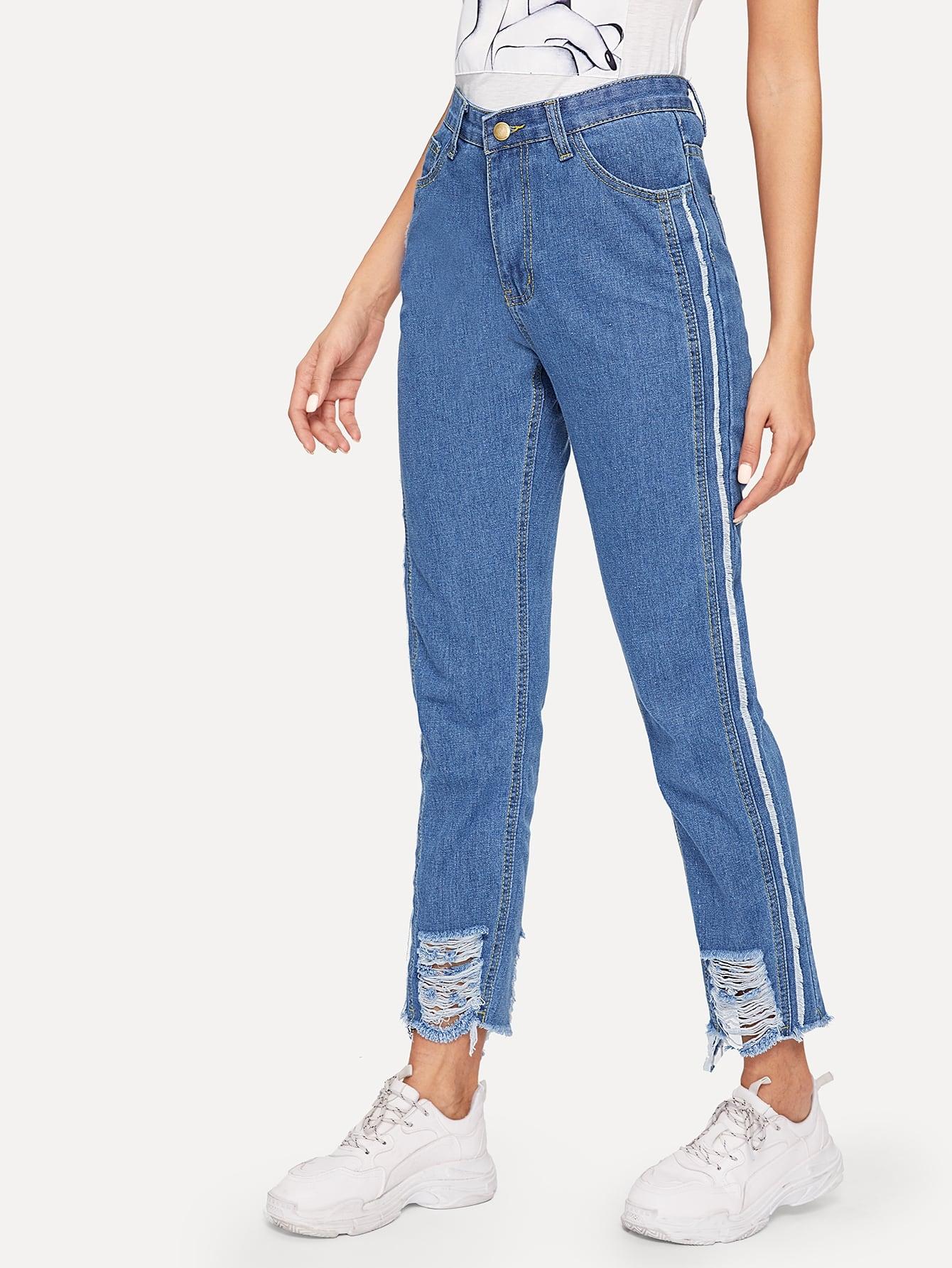 Купить Рваные джинсы с полосками и необработанным краем, Juliana, SheIn