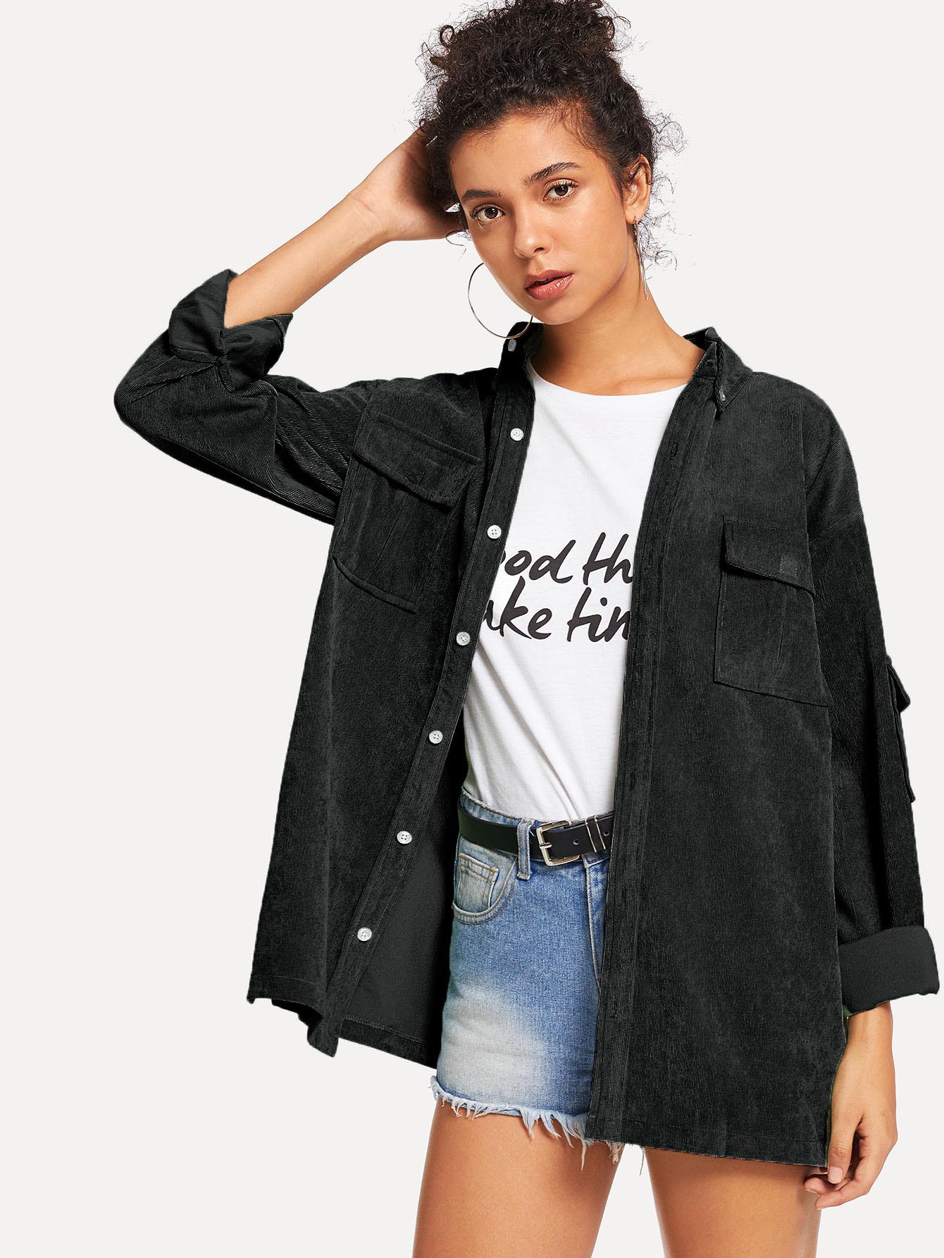 Фото - Однотонное вельветовое пальто с двумя кармана от SheIn черного цвета
