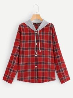 Curved Hem Plaid Shirt With Jersey Hood