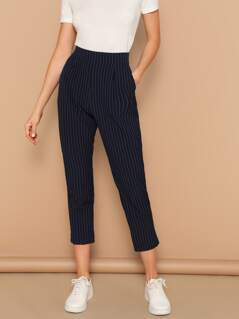 Vertical-stripe Peg Leg Pants