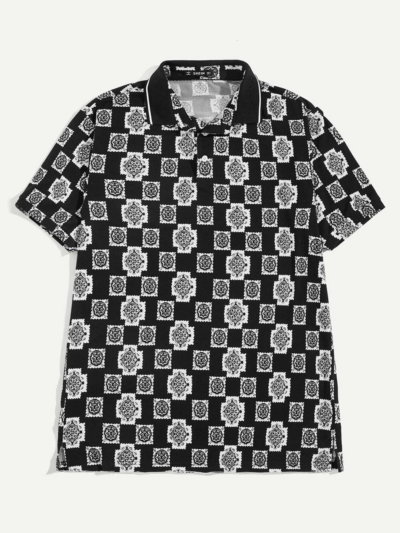 Купить Мужская рубашка-поло с цветочным полосатым воротником, null, SheIn