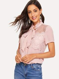 Frilled Tie Neck Eyelash Lace Applique Top