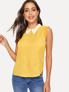Contrast Collar Curved Dip Hem Blouse
