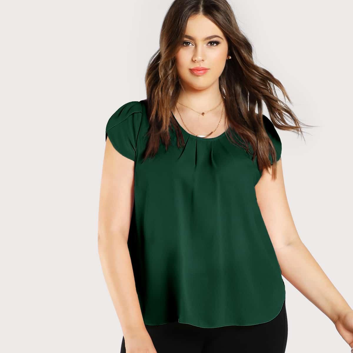 Groen Elegant Vlak Grote maten blouses Geplooide