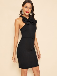 30s Zip Back Bow Front Belted Bodycon Dress