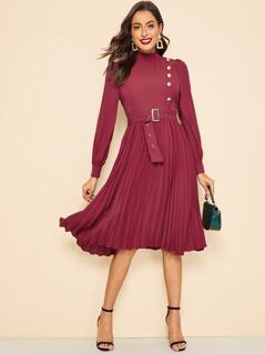 Frill Neck Button Detail Pleated Dress