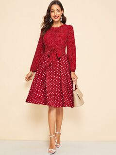 Mixed Dot Print Belted Flare Dress