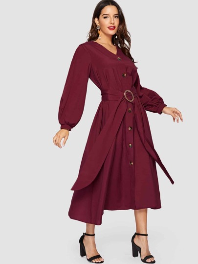 Lantern Sleeve O-ring Belted Button Dress