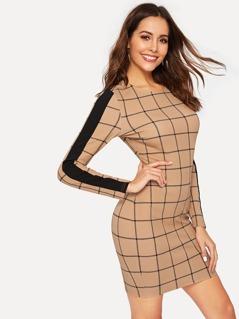 Zip Back Contrast Tape Grid Dress
