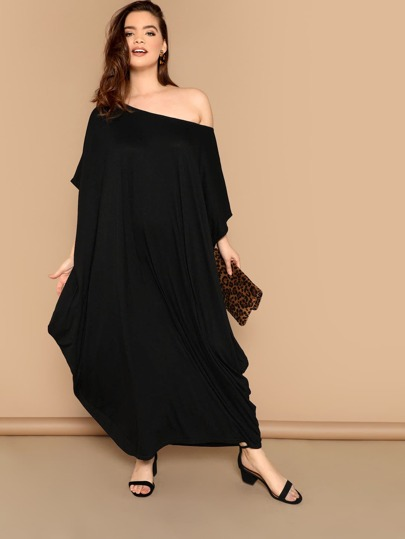 Plus Solid Oversized Batwing Dress