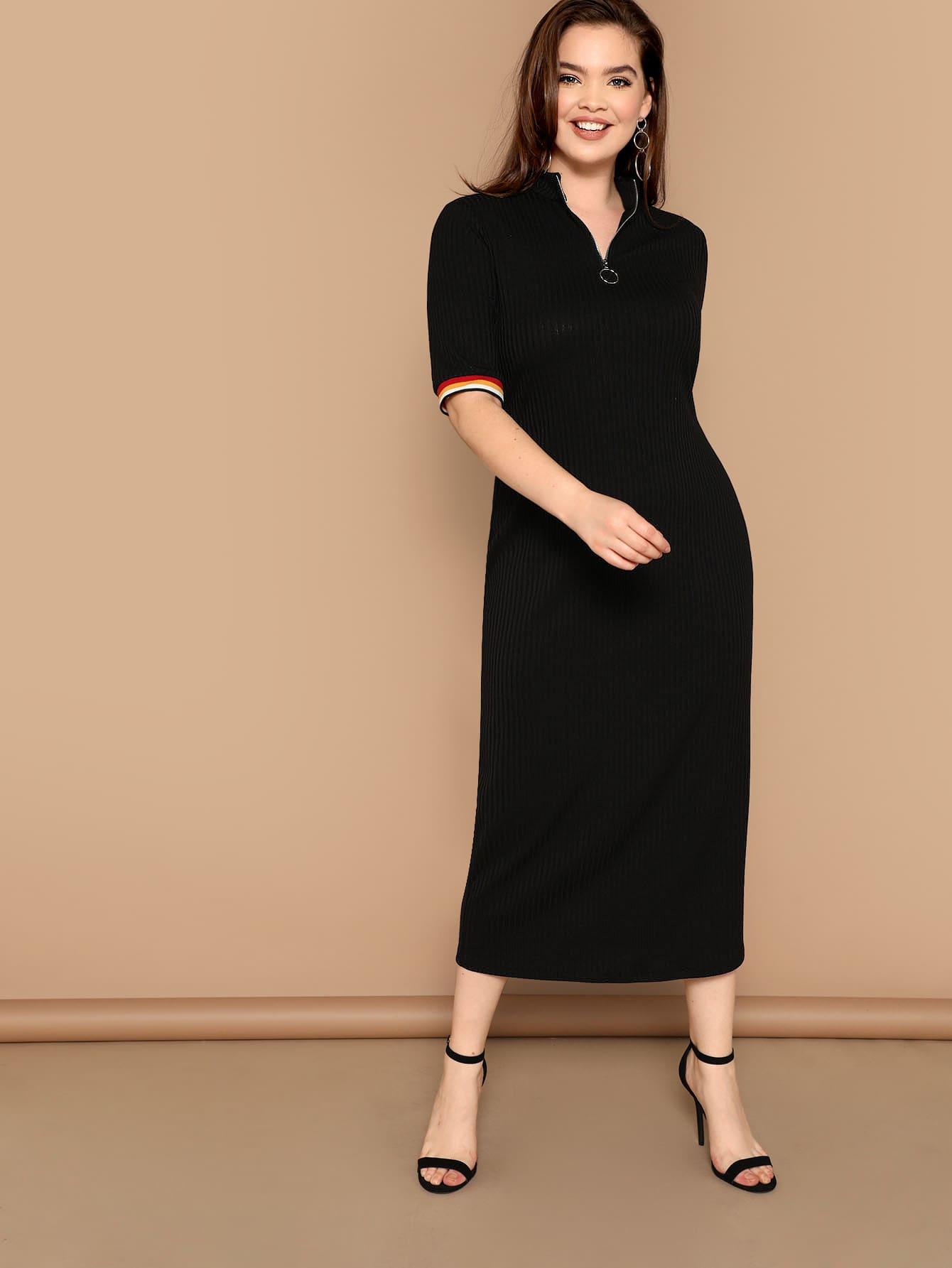 Размер плюс вязаное ребристое платье с полосатами и разрезом