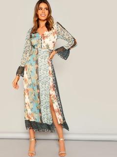 Spliced Floral Tied V Back Split Dress