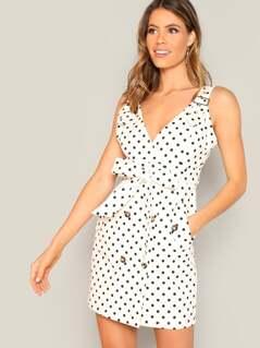 Adjustable Strap Polka-dot Knotted Dress