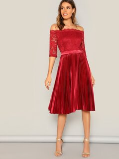 Floral Lace Overlay Pleated Bardot Dress