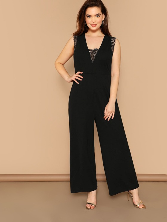 f5b58b6bbade Plus Lace Insert V-neck Wide Leg Jumpsuit