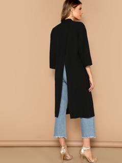 Open Front Split Back Solid Kimono