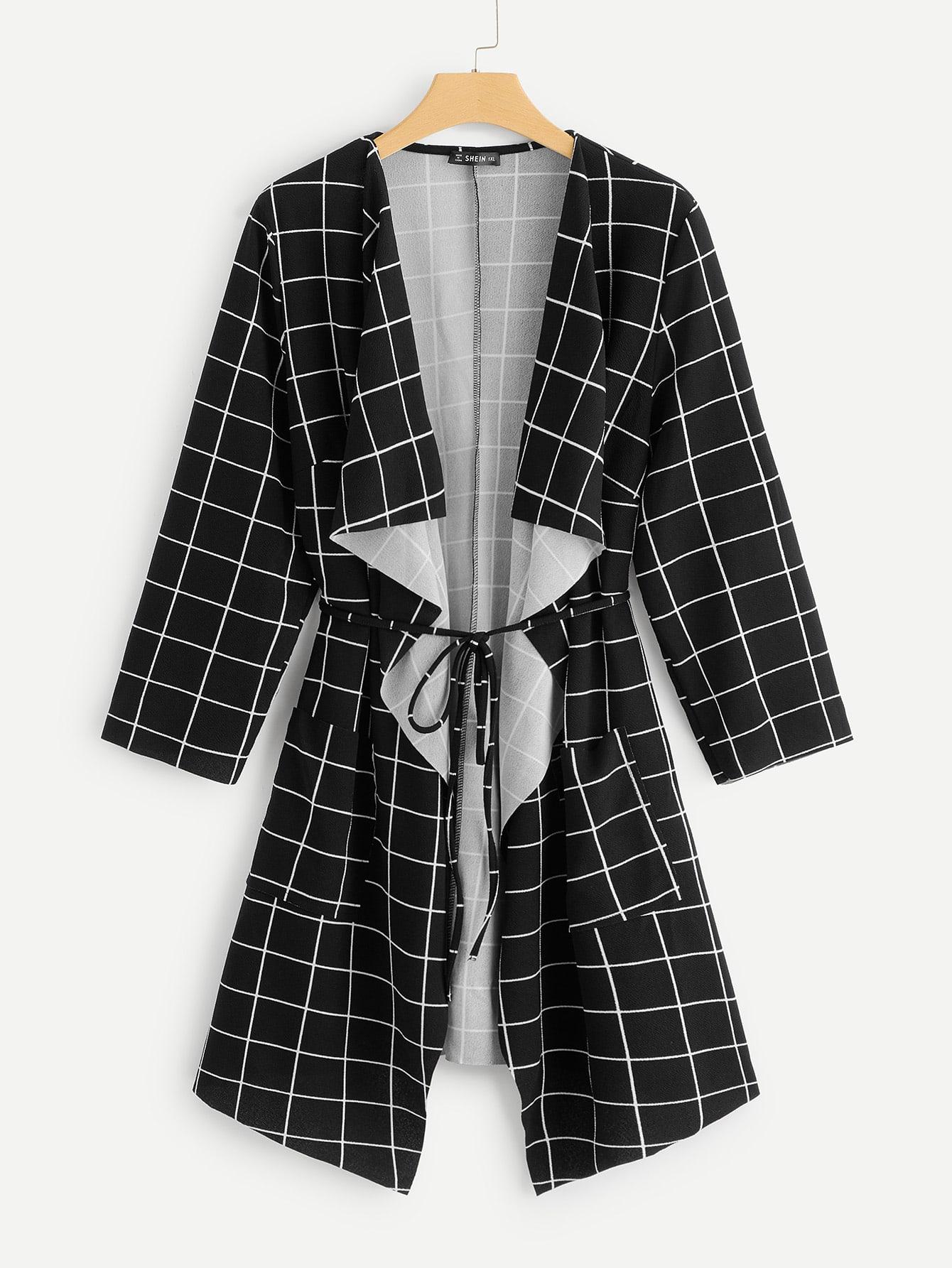 Купить Размер плюс пальто в клетку с каскадным воротником, null, SheIn