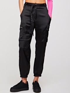 Pocket Patched Belted Satin Utility Pants