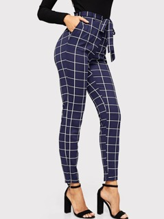Waist Drawstring Pocket Grid Pants