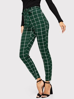 Slant Pocket Belted Grid Pants