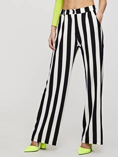 Striped Slant Pocket Wide Leg Pants