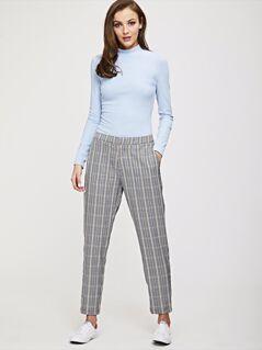 Slant Pocket Plaid Tapered Pants