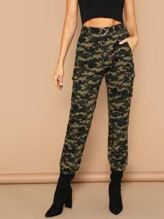 Waist Belted Camo Print Tapered Pants
