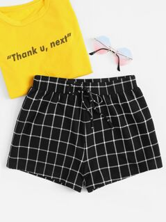 Grid Print Drawstring Shorts