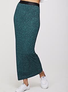 Contrast Waistband Marled Knit Bodycon Skirt