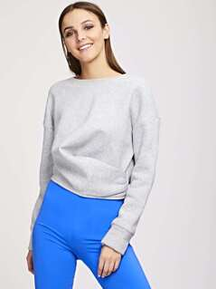 Drop Shoulder Solid Pullover