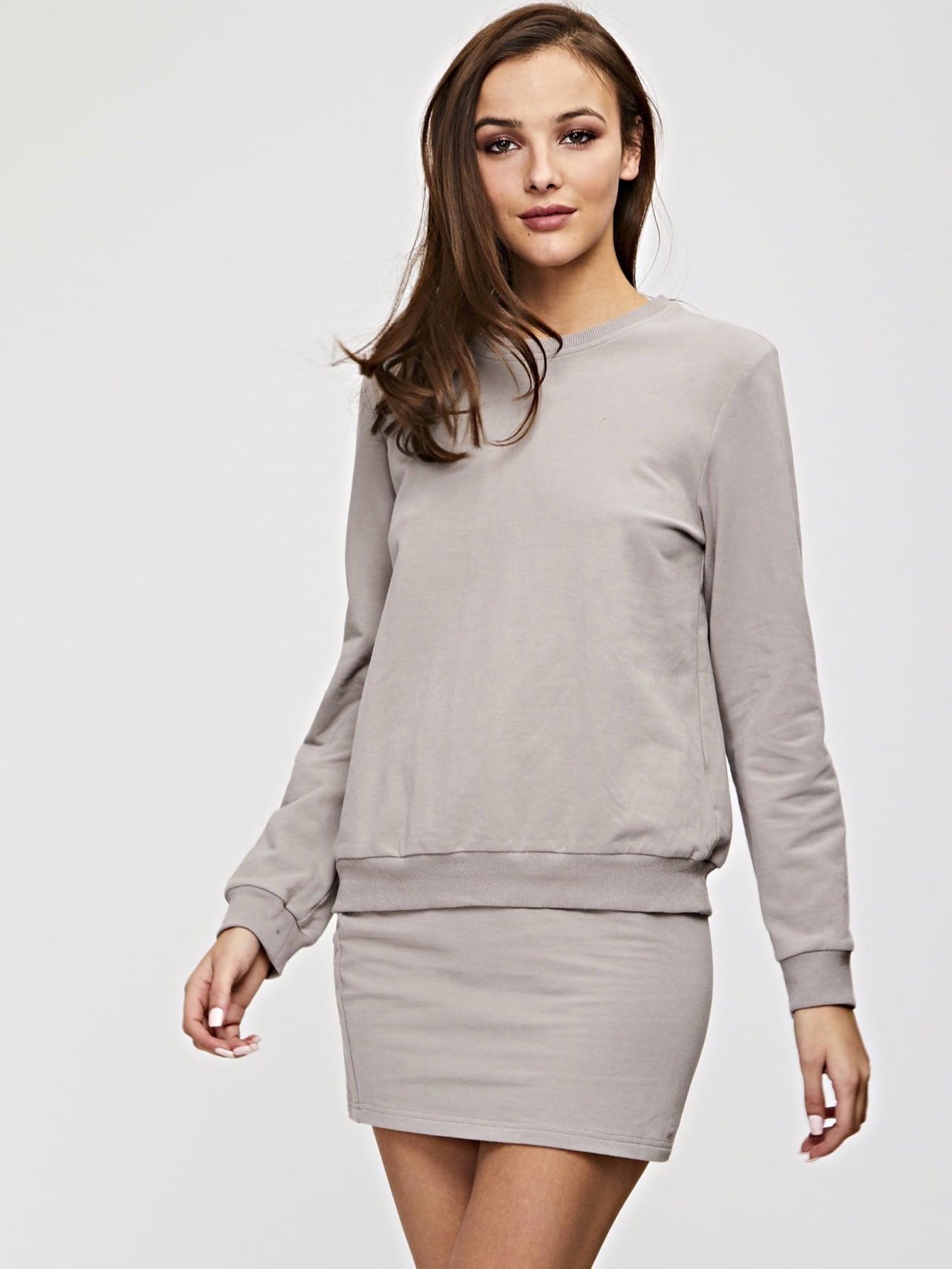 Купить Однотонный пуловер с вязаной ребристой отделкой и юбка комплект, Gracea, SheIn