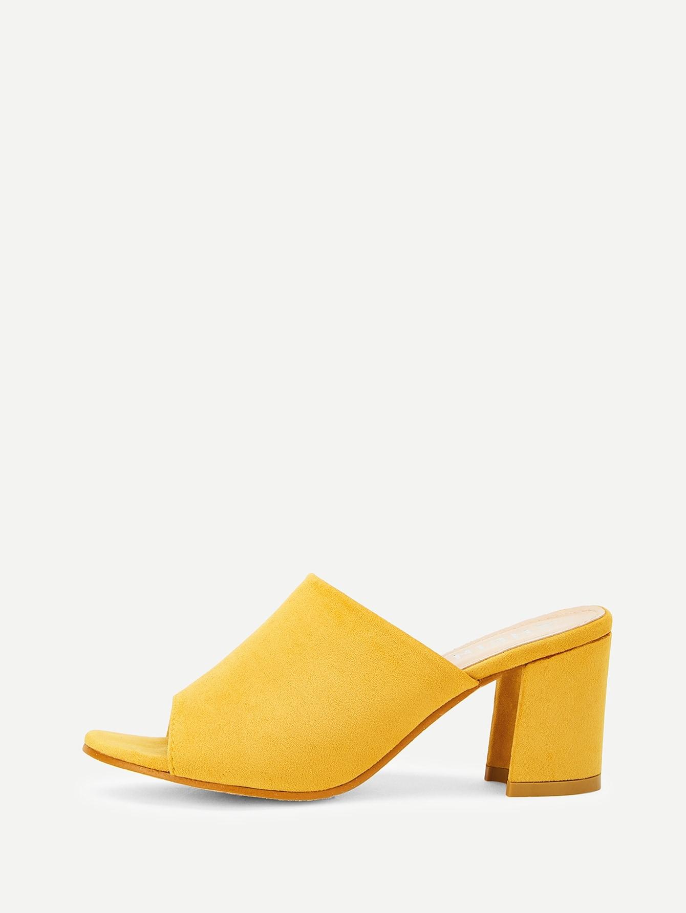 Купить Соткрытой пальцы ноги Жёлтый Каблуки, null, SheIn